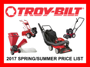 2017 Troy-Bilt spring/summer price list