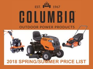 2018 Spring/Summer Columbia Price List