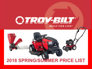 2018 Troy-Bilt spring/summer price list
