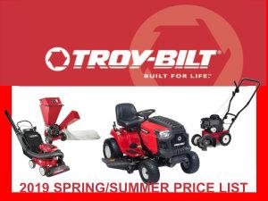 2019 Troy-Bilt spring/summer price list