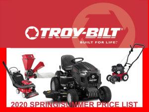 Troy-Bilt 2020 Spring/Summer Price List