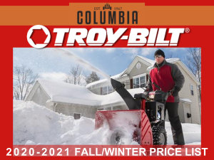 2020-2021 Columbia and Troy-Bilt Fall/Winter price list